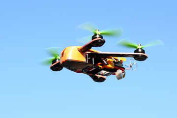 A drone flying high up in the air aircraft radio-controlled aircraft toy aviation aircraft engine air sports №53701