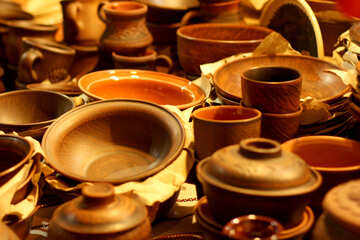 Folk craft that can be Use  clay craft background Folk Pots №53494