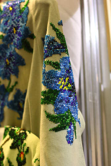 Flowers on  curtain fabric blue №53138