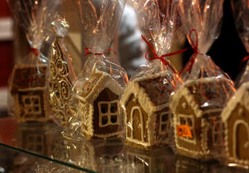 Ginger Bread Houses christmas Candy packed with gift Home cellophane ginger bread №53480