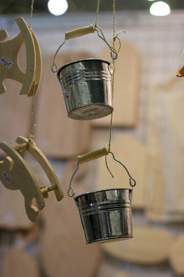 two buckets hanging from the roof №53136