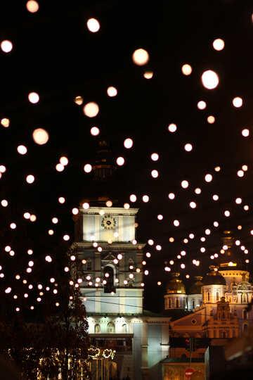 Light orbs above a street Christmas lanterns №53555