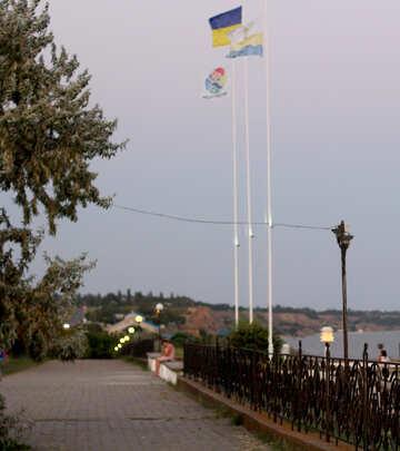 promenade with flagpoles №53221