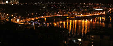 The river and a bridge at night Lights reflecting on water reflections №53599