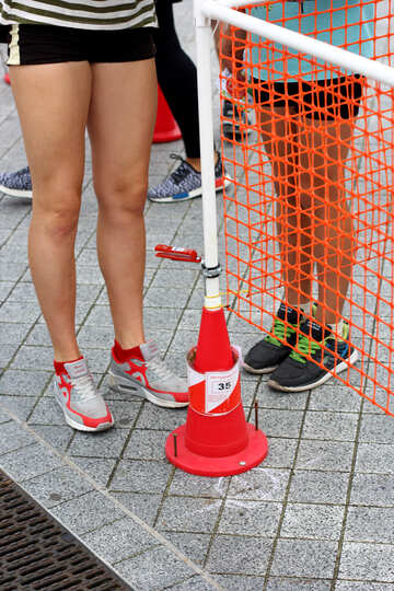 Legs, cone, goal two girls women in running shoes №53985