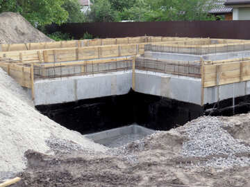 An under construction building,  foundation sand Concrete and gravel cement block №53423