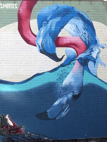 wave blue splash water giant flamingo art mural №53408