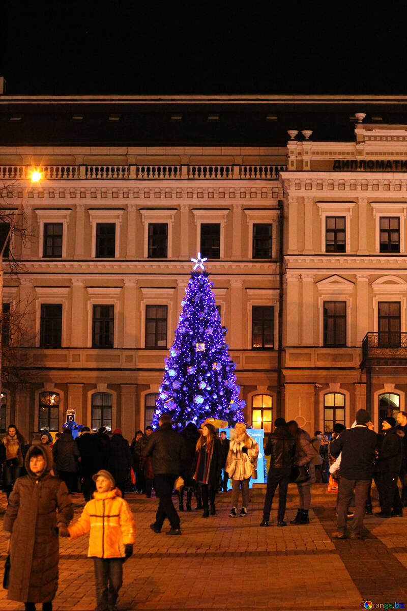 Blue christmas tree next to a building №53563