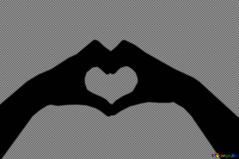 hands and heart silhouette №53174