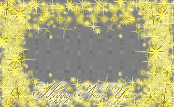 Frame Happy New Year 3d gold stars text on bottom
