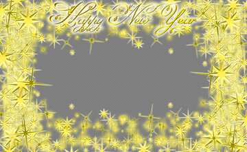 Frame Happy New Year 3d gold stars text on top