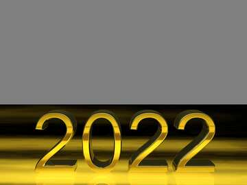 2022 3d render gold digits with reflections dark background isolated №54490