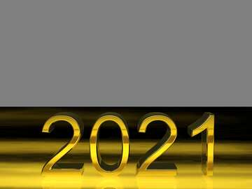 2021 3d render gold digits with reflections dark background isolated №54491