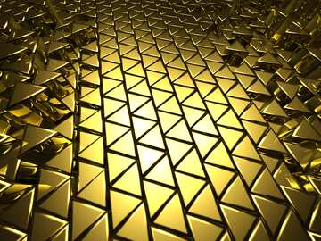 3D abstract geometric volumetric triangle gold metal background