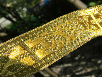 Kind of gold belt, maybe It belongs to priest of something ortodox golden ribbon with cross and swirls embroidered golden №54016
