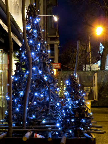 christmas trees with blue lights on the street №54045