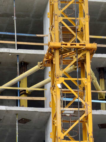 Ladders and buildings yellow elevator crane building metal structure construction №54128