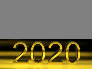 2020 3d render gold digits with reflections dark background isolated
