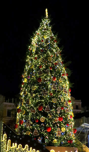 its a  Christmas tree with lights and stuff №54069