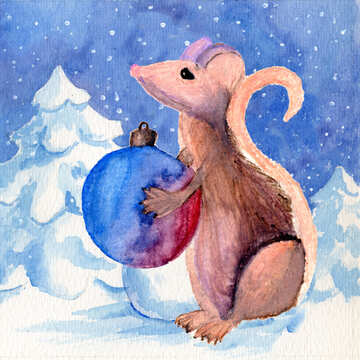 Chinese new year 2020 year of the rat   Christmas Snow forest background. Hand drawing painted watercolor hobby card. Winter sale of goods banner. Mouse Holds a gift in hands.