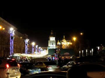 night street scene city lights in the dark Traffic parking Cars №54120