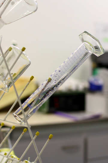 a glass tube on a drying rack lab test №54634