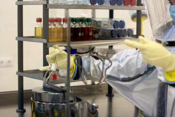 scientist gloved hands bottles rack chemicals med lab hospital laboratory №54571