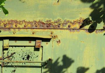 green metal rusty Door №54177