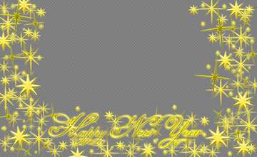 Frame Happy New Year 3d gold stars text