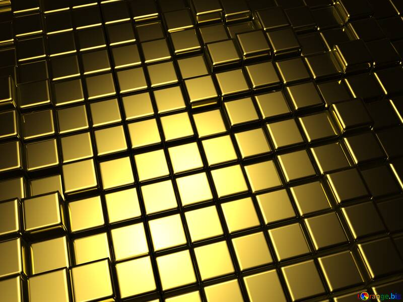 3d abstract gold metal cube background №54498
