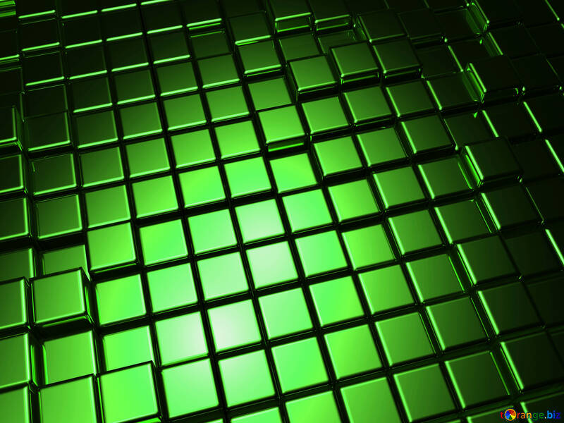 3d abstract green metal cube boxes background №54500