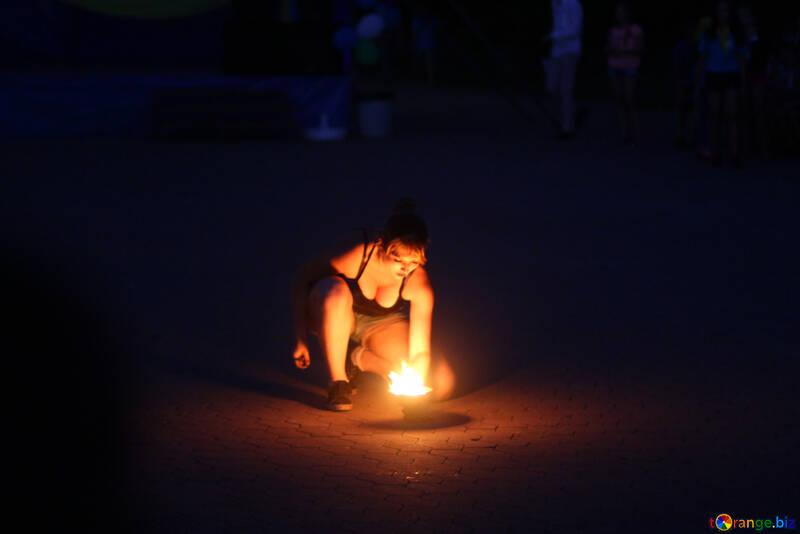 Woman  Lighting Fire №54376