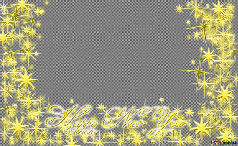 Frame Happy New Year 3d gold stars text №54457