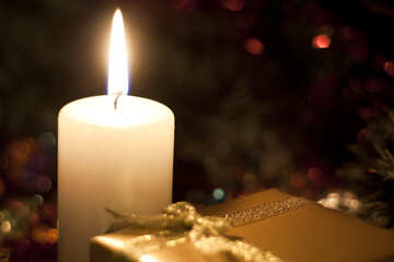 Postcards at Christmas Candle and gift. №6687