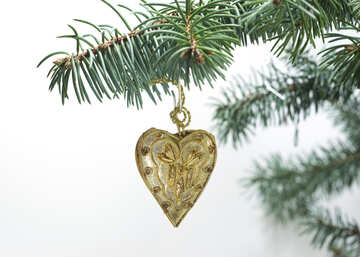 Christmas  heart  of the  Gold  tissue. №6803