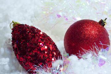 Christmas  postcards . Reds  balls. №6340