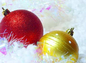 Red and Yellow fur-tree christmas ball №6343