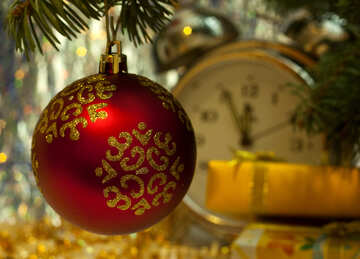 Christmas wallpaper Red ball and clock №6923
