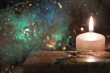 New Year  evening . Candles . Gifts. №6667