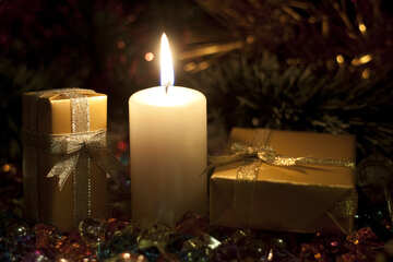 Postcards  at  New  year . Candle  and  gifts. №6683