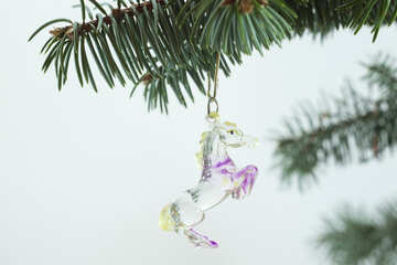 Glass  horse . Christmas  decoration. №6743