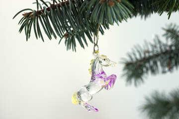 Christmas tree  decoration . Horse . On  White  background №6741