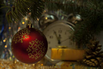 Red new-year sphere. №6921