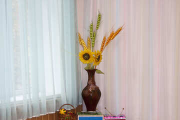 Vase   Sunflowers  and  spikelets №6161