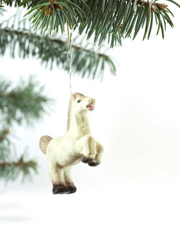 Horse  at  Christmas  tree  at  White  background №6757