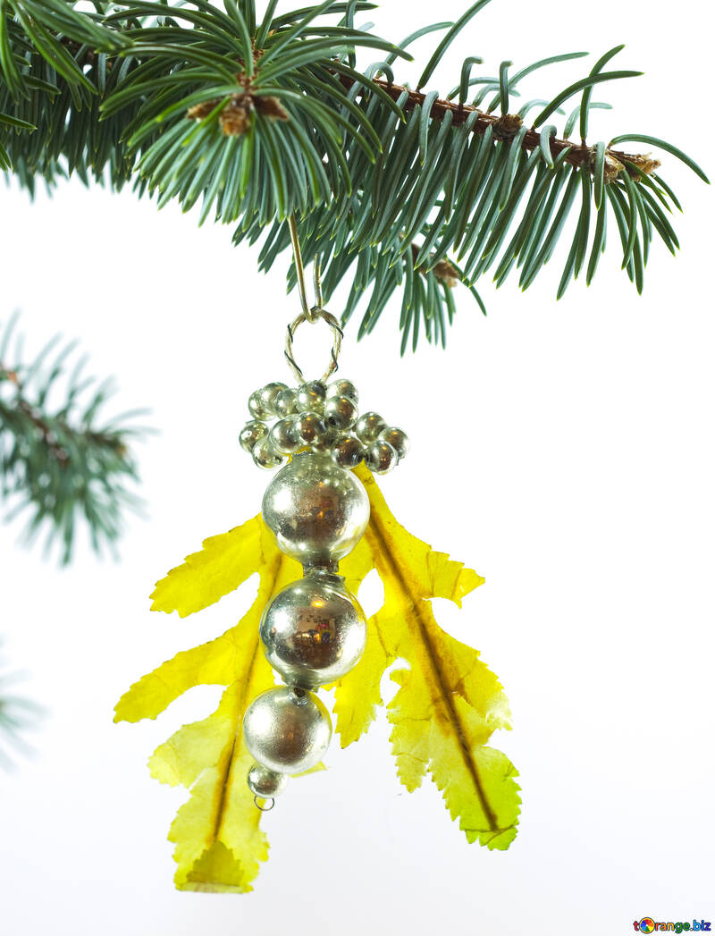 Christmas Tree White Background.Vintage New Year And Christmas Ornaments Soviet Christmas