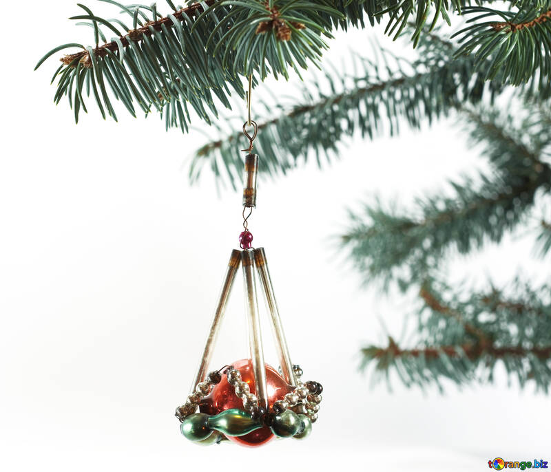Antique  Christmas tree  toy  at  White  background №6755