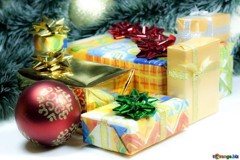 Новогодний фон с подарками №6719