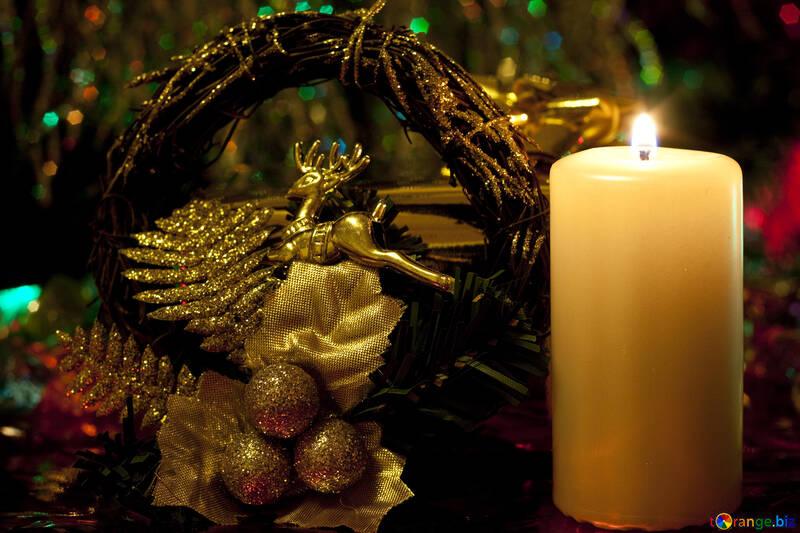 Wreath   buck . Candle. №6640