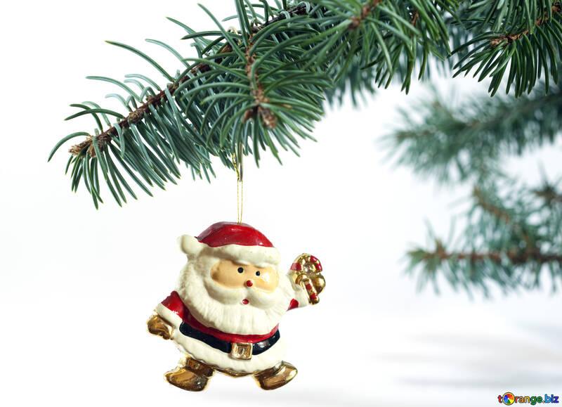 Дед мороз. Елочное украшение на белом фоне №6762